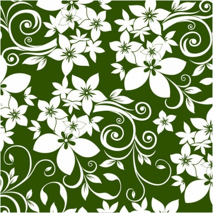 Abstract Floral Ornament on Green Background vector graphics