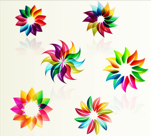 Abstract Flowers Logotypes vectors