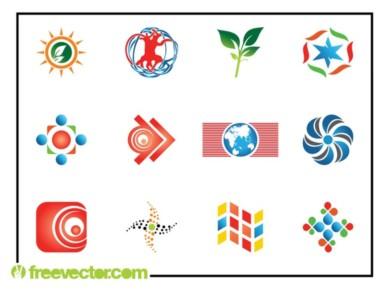 Abstract Logo Set shiny vector
