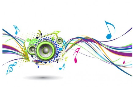 Abstract Rainbow Wave Music Background vector