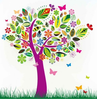 Abstract Tree with Flower Patterns shiny vector