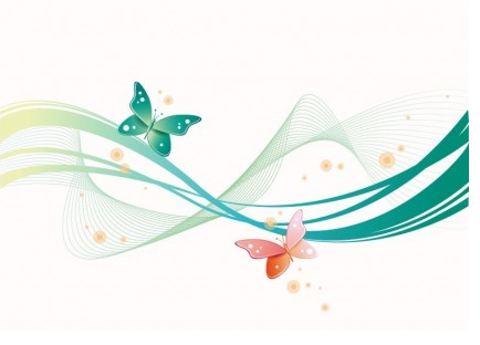 Abstract Wave with Butterfly Background art vectors graphic