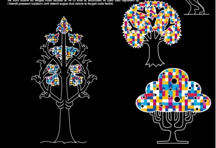 Abstract trees background 03 vector