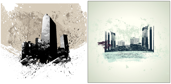 Abstract urban buildings background 1 design vector