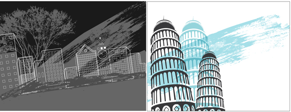 Abstract urban buildings background 3 design vector