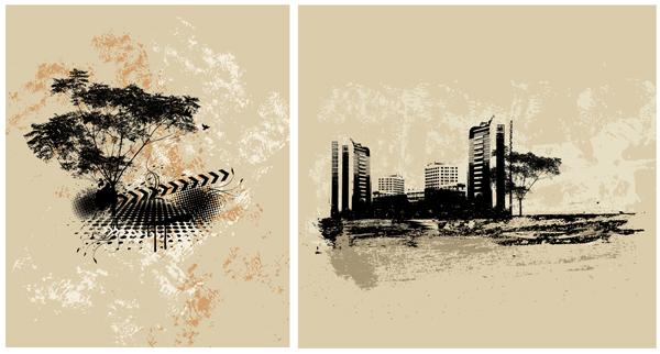 Abstract urban buildings background 4 design vectors