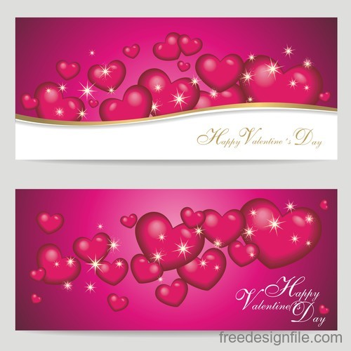 Abstract valentine banners with heart and star light vector