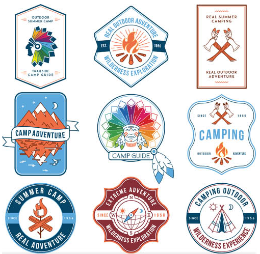 Adventure Labels free set vector