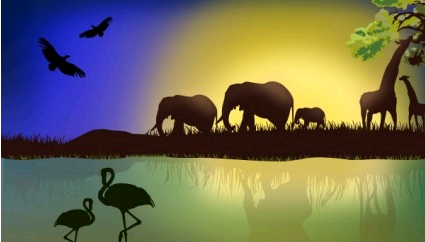 African Landscape with animals vectors graphics