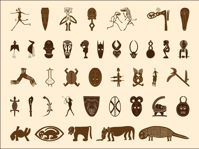 African Symbols Graphics art shiny vector
