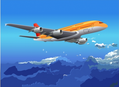 Air plane in blue sky Free vector
