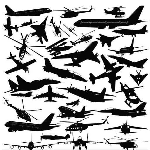 Airplane Silhouettes shiny vector