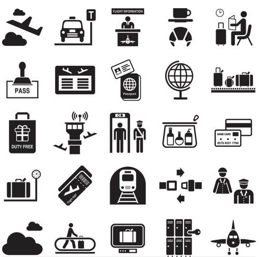 Airport Icons free set vector