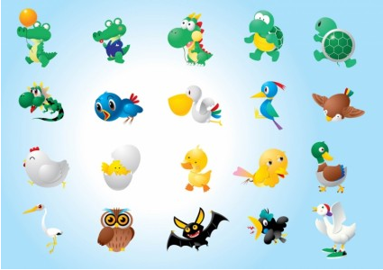 Animal Character Illustrations Vector