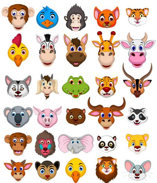Animal Heads vector set