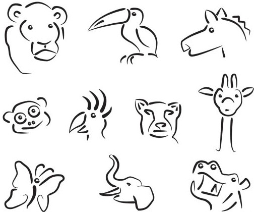 Animals Silhouettes Logo art Illustration vector