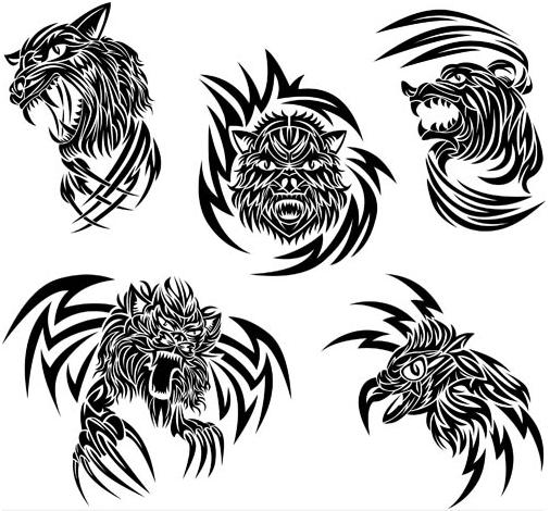 Animals Tattoo graphic vectors material