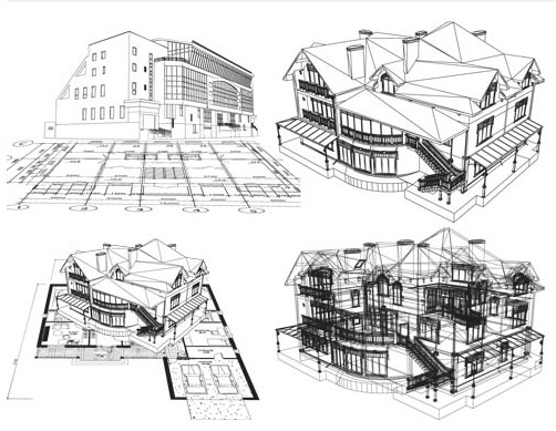 Architectural objects design vector