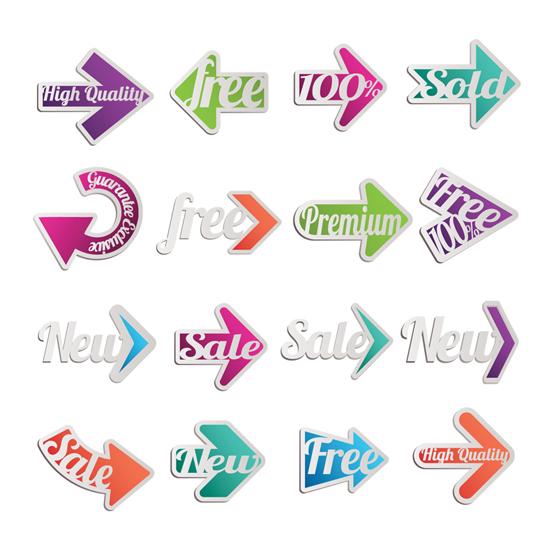 Arrow stickers shiny vector
