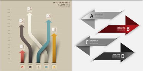 Arrows Infographics Backgrounds 6 vectors graphics