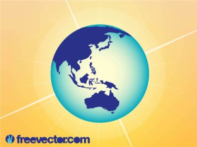 Australi And AsiGlobe vectors