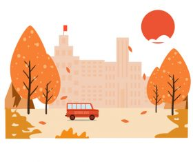 Autumn campus vector