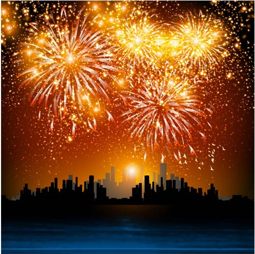 Backgrounds with Fireworks 2 vectors