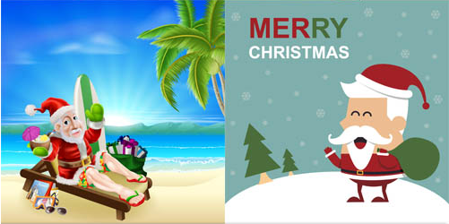 Backgrounds with Santa creative vector