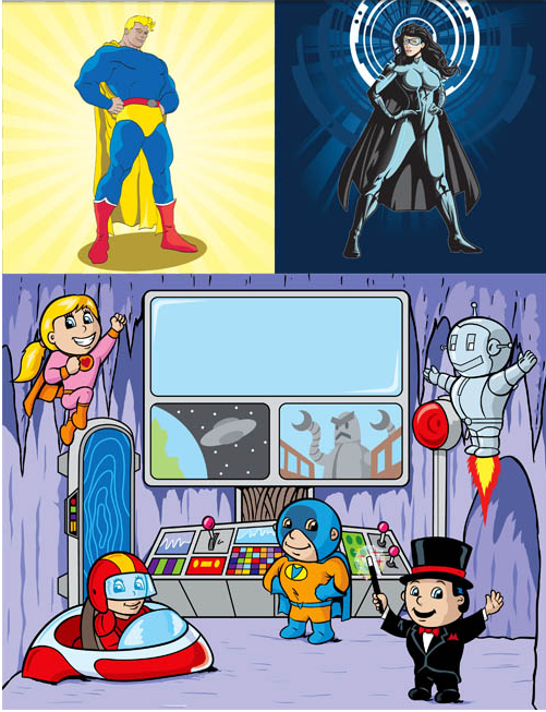 Backgrounds with Superheroes 3 design vectors