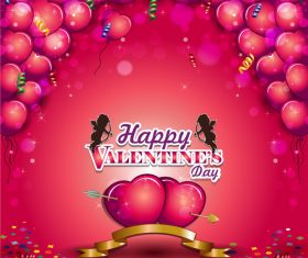 Balloons in heart valentine card vectors