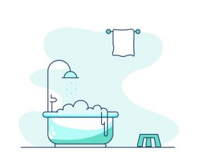 Bathroom cartoon hand drawn vector