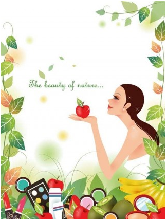 Beautiful Girl with Nature Background set vector