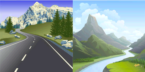 Beautiful Mountains Set vector graphic