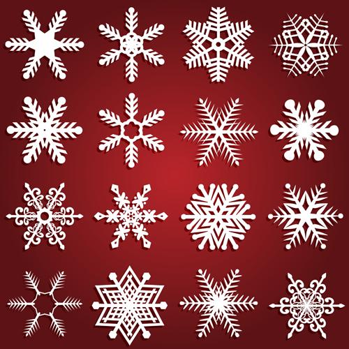 Beautiful snowflake vector set