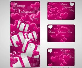 Beautiful valentine day banner with card vector material