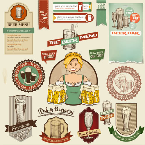 Beer Vintage Labels design vector