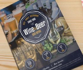 Beer and Wine Menu Cover PSD Template