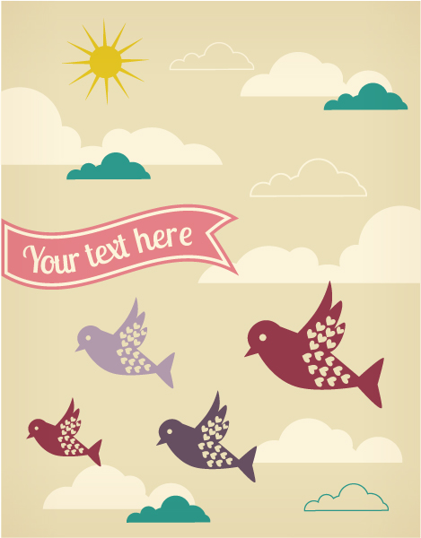 Birds cartoon background 1 vector design