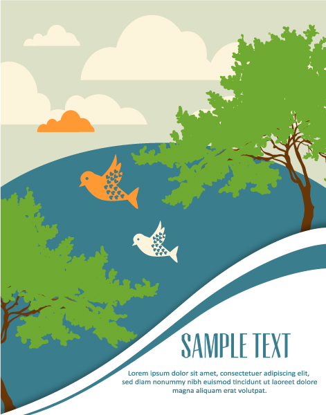 Birds cartoon background 3 vector