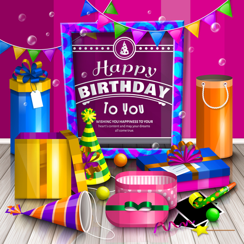 Birthday gift on the wooden board vectors material 01