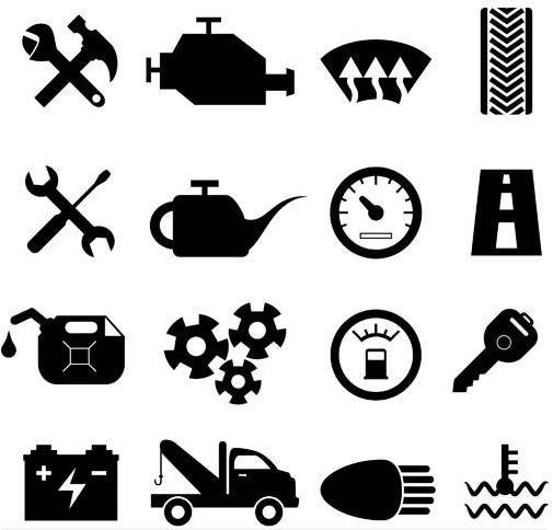 Black Car Service Icons vector