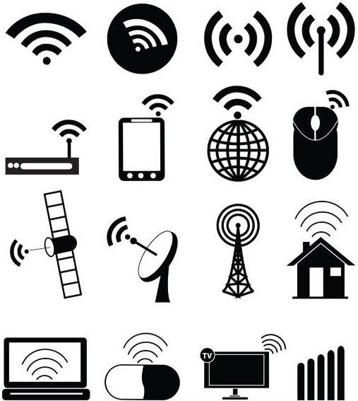 Black Communications Icons set vector