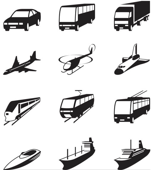 Black Icons with Transport vector design