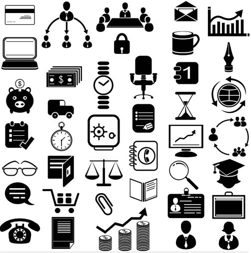Black Office Icons free vector graphic