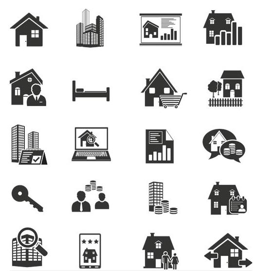 Black Real Estate Icons vectors