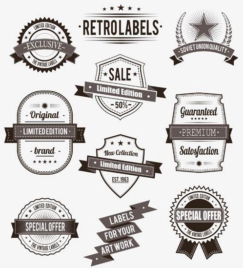 Black Shopping Labels Set vector