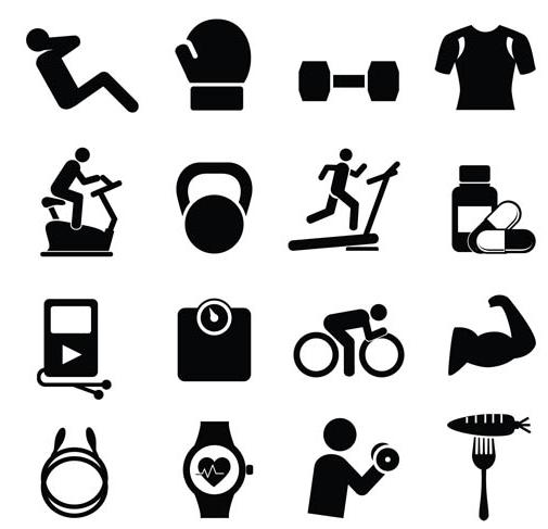 Black Sport Icons vector