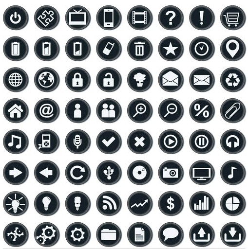 Black Web Icons free vector graphics