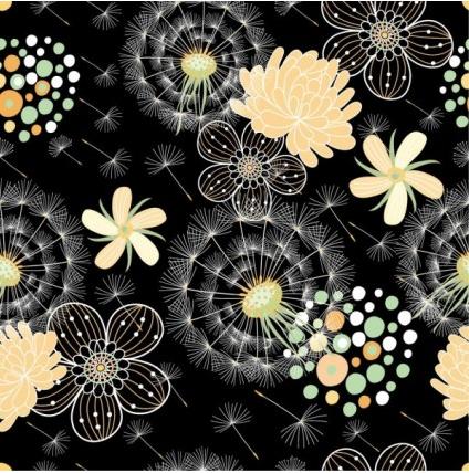 Black background floral 02 vector