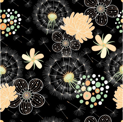 Black background floral pattern 2 vector graphic